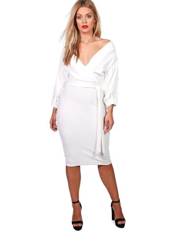 BOOHOO Off The Shoulder Wrap Midi šaty Taylor  foto