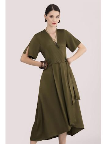 CLOSET LONDON Khaki satin midi šaty foto