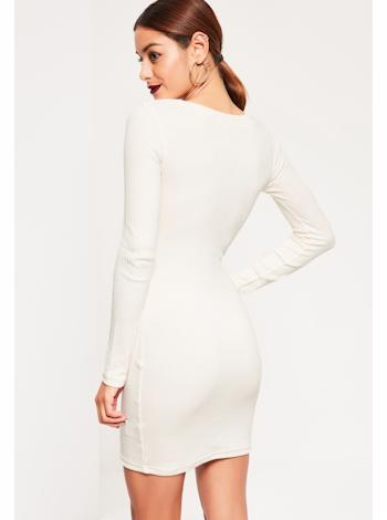 5d8c3f223bab ... MISSGUIDED Biele bodycon šaty s circle detailom foto
