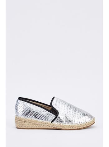 TAMSIN OUTLET Metalické espadrilky s croc textúrou foto