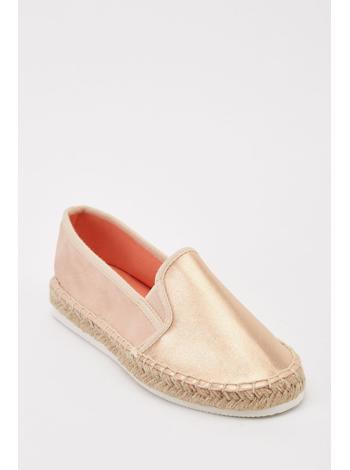 TAMSIN OUTLET Metalické flat espadrilky foto